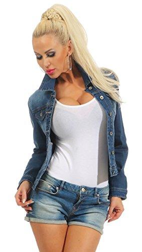 Fashion4Young 11301 Damen Jeansjacke Damenjacke Jeans Jacke Kurze Jacke Stretch-Denim Slimline (dunkelblau, XL-42)