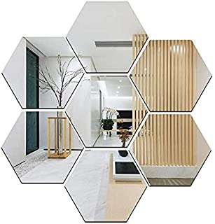 Atulya Arts Mirror Hexagon Decorative Wall Sticker (Pack of 7) with 10 Butterfly Sticker 3D Acrylic Stickers Mirror Wall S...