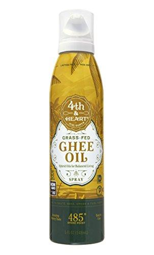 Grass-Fed Ghee Oil Cooking Spray by 4th & Heart, 5oz, Non-GMO Verified Hybrid Oil, Balanced Omega Fatty Acids, Paleo Approved, Keto-Friendly