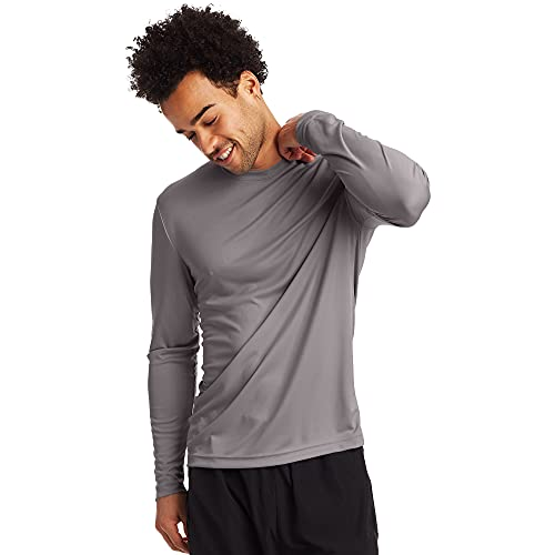 Hanes Men's Long Sleeve Cool Dri T-Shirt UPF 50+, X-Large, 2 Pack ,Graphite