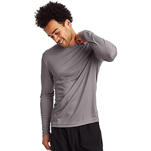 Hanes Men's Long Sleeve Cool Dri T-Shirt UPF 50+, Medium, 2 Pack ,Graphite