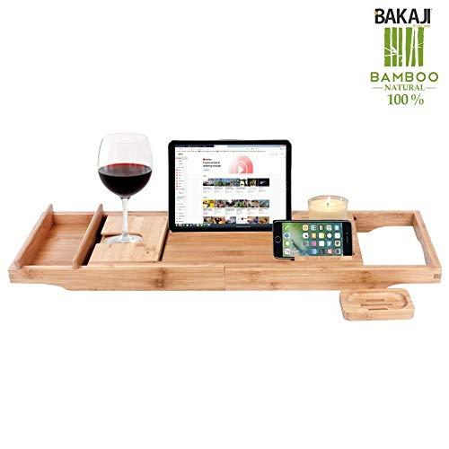 Bakaji Tavolino Vassoio per Vasca Bagno Estensibile con portasapone Regolabile in Legno Bambù Supporto per Tablet Bamboo Scomparti Organizer per il Bagno in Bambu