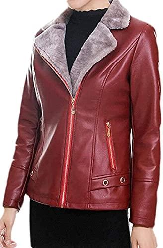 Asenie Women Thicken Fleece Lined Faux Leather Moto Biker Slim Coat Jacket