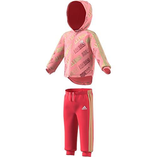 adidas I Shiny Fz Hd J Tuta, Unisex bimbi, Top:Glory Pink/Core Pink/Tech Indigo Bottom:Core Pink S17/Yellow Tint S20, 2-3Y