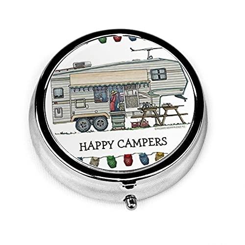 Estuche de pastillas redondo con 3 compartimentos Estuche de pastillas pequeño portátil para monedero de bolsillo-Lindo remolque de viaje de camper de vidrio Vintage para caravana