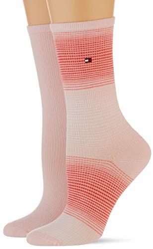 Tommy Hilfiger Womens Gradient Stripe Women's (2 Pack) Socks, pink Combo, 39/42