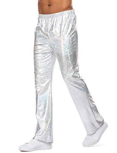 COOFANDY Mens Metallic Bell Bottom Pants 70's Disco Pants Party Nightclub Flare Leggings