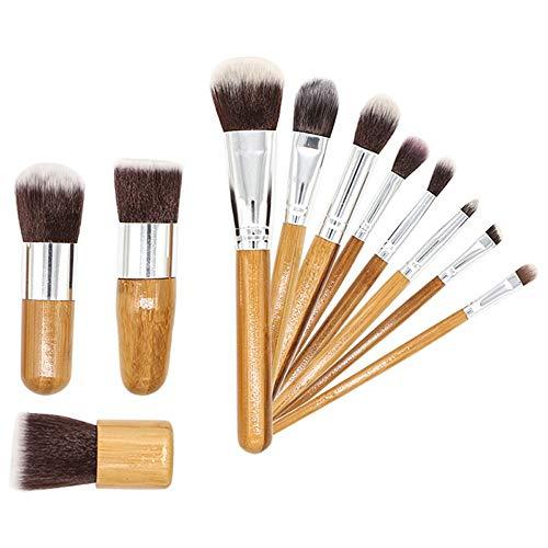 GBY Lot de 11 pinceaux de maquillage professionnels avec manche en bambou synthétique de qualité supérieure pour fond de teint, blush, maquillage