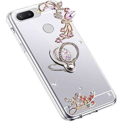 Uposao Kompatibel mit Xiaomi Mi 8 Lite Hülle Glitzer Spiegel TPU Schutzhülle Bling Strass Diamant Silikon Hülle Glänzend Kristall Blumen Silikon Handyhülle mit Ring Ständer Halter,Silber