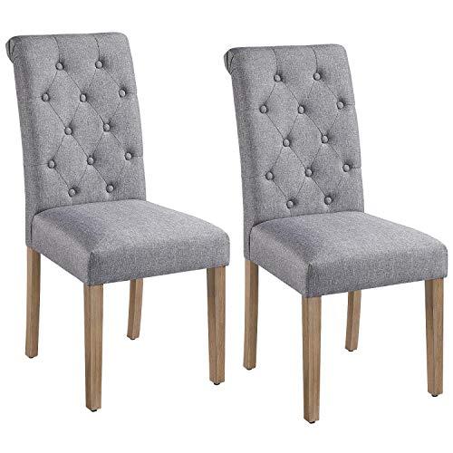 Yaheetech Esszimmerstühle 2er Set Küchenstuhl Polsterstuhl mit hoher Rückenlehne, Beine aus Massivholz, gepolsterte Sitzfläche aus Leinen Dunkelgrau