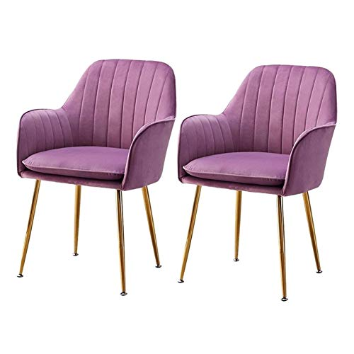 Modern Dining Chair Velvet Fabric Chairs Sturdy Metal Legs Side Chair with Arms Rest For Dining and Living Room Chairs (Color : Purple, Size : 2pcs)