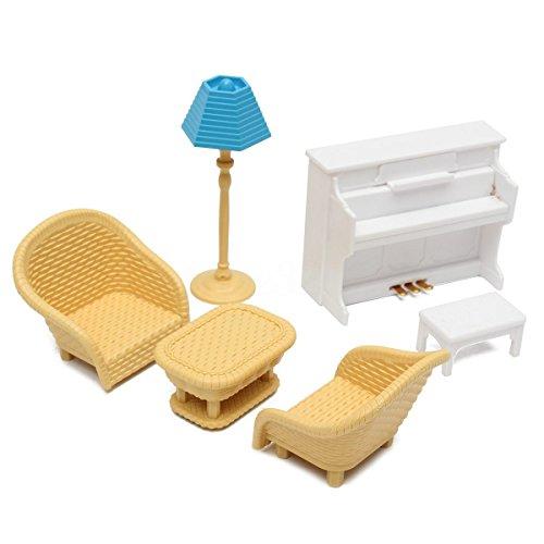 SODIAL 6pzs Sofa mesa Muebles de casa de munecas en miniatura Juguetes para ninos de sala