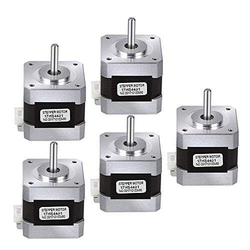 LONGWDS Printer Parts Nema 17 Stepper Motor, 5Pcs Bipolar 1.7A 40Ncm(56.2Oz.in) 40Mm Body 4-Lead with 40Mm Cable and Connector for 3D Printer/CNC