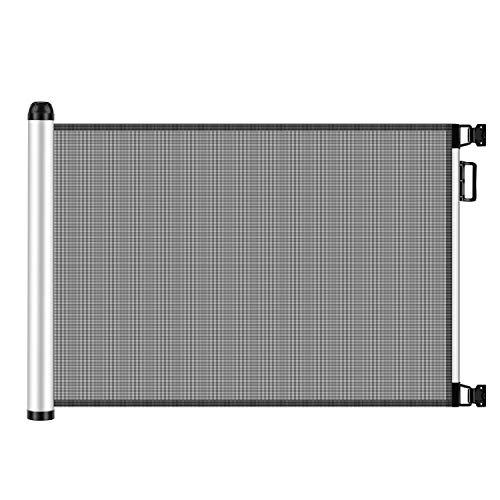 Meinkind Barrière de Sécurité Extensible pour Bébés et Chiens, Barrière de Sécurité Extensible et Enroulable d'Escaliers et Portes 0cm - 125cm x 80cm, Gris