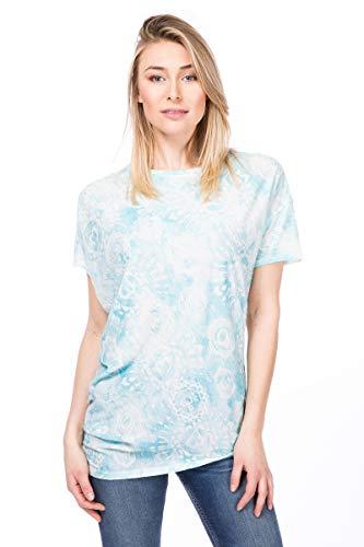 Super.Natural T-Shirt de Yoga pour Femme en Laine mérinos W Yoga Loose Tee Printed, Taille S, Blanc/Vert Menthe