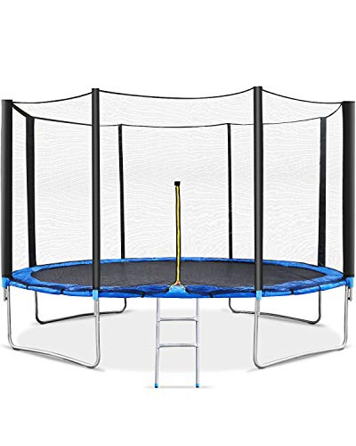 MaxKare 12FT Trampoline for Kids Rectangular Trampoline Enclosure Safety Protective Net Jumping Mat Spring Cover Padding Outdoor Ladder Trampoline Steel Pipes Fitness Equipment by Children & Adults