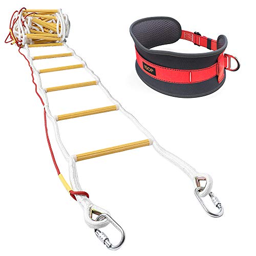ISOP Emergency Fire Escape Rope Ladder 3 - 4 Story Homes 32 ft Flame Resistant Unique Safety Ladder with Hooks & Safety Cord & Safety Belt - Fast Deploy & Simple to Use - Compact & Reusable