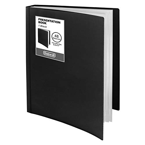 """Dunwell Binder with Plastic Sleeves - (Black, 1 Pack), 48-Pocket Bound Presentation Book with Clear Sleeves, Displays 96 Pages of 8.5x11"""" Inserts, Sheet Protector Binder, Portfolio Display Book"""
