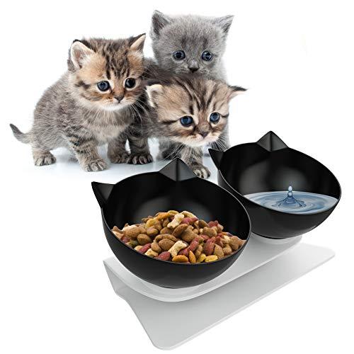 YHmall 15 °Neigung Katzennapf, rutschfeste und Auslaufsichere Fressnapf Katze Erhöht, Futternapf Katzen für Katzen, Welpen und Kleintiere MEHRWEG