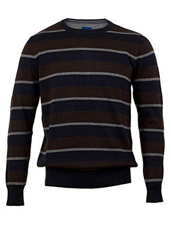 TOM TAILOR Herren Basic Stripe sweater/408 Sweatshirt, Braun (After Dark Brown 8244), X-Large (Herstellergröße: XL)