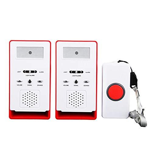 ALEENFOON Haus Wireless Mobiler Alarm Notruf Knopf Pflegeruf-Set Hausnotruf Panikalarm Funkalarm für Pflegebedürftige Geduldig Älterer Mann (Rot,2 in 1)