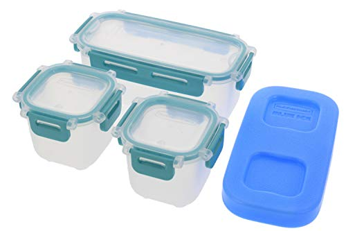 Rubbermaid Lunch Blox Snack Kit - Lunch Box Food Containers - Comes with 1 Ice Pack, 2 Small, and 1 Long Container - Great for Kids Snacks, School Lunches, and Adult Meal Prep - Blue