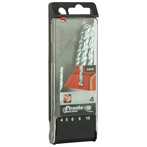BLACK+DECKER X56035-QZ Masonary Drill Bits- 4mm,5mm,6mm,8mm,10mm (Set of 5)
