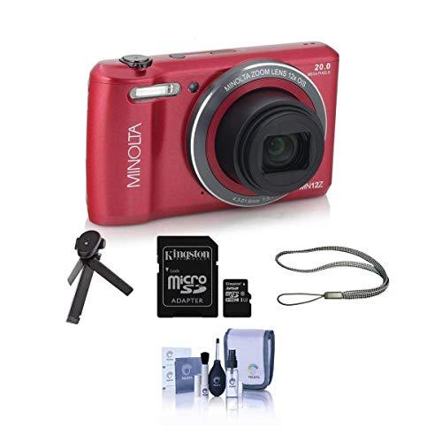 Minolta 20 Mega Pixels HD Digital Camera w/12x Optical Zoom, RED - Bundle with 32GB MicroSDHC Card, Table Top Tripod, Camera Strap, Cleaning Kit,
