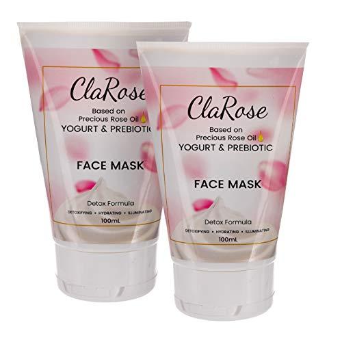 ClaRose Entgiftende aufhellende Gesichtsmaske mit 100 % natürlichem Rosenöl, Joghurt und Präbiotikum; 2x 100 ml