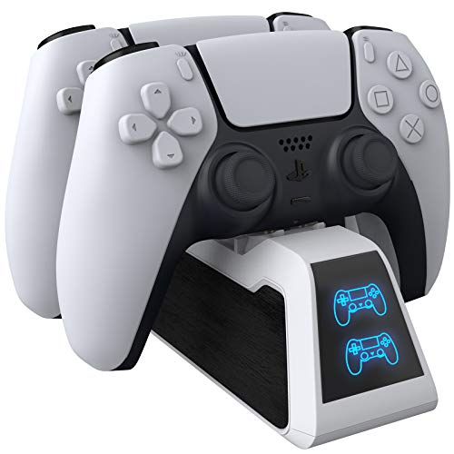 scorel PS5 コントローラー 充電器 デュアル急速充電 2台同時充電可能 LED指示ランプ付き(ホワイト)