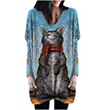 FABIURT Long Sleeve Shirts for Women Graphic Women's Casual Long Sleeve Crewneck Sweatshirts Comfy Striped Loose Shirts Tunic Tops Blue