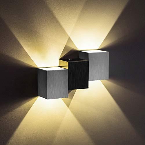 Louvra 6W LED Wandleuchte Up und Down Moderne Wandlampe Aluminium für Wohnzimmer Schlafzimmer Flur Treppen Cafe Bar usw. Kaltweiß/Warmweiß