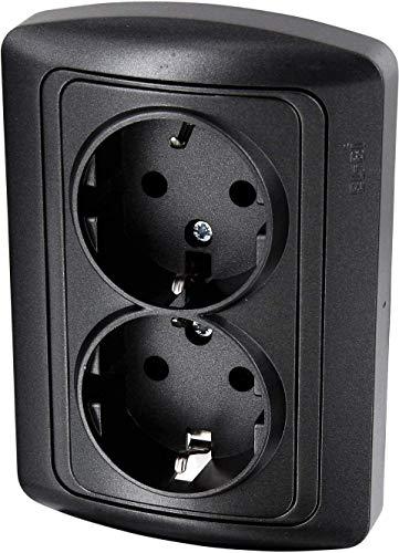 UP Doppel-Steckdose - All-in-One - Rahmen + Unterputz-Einsatz + Abdeckung - Metallic-Anthrazit