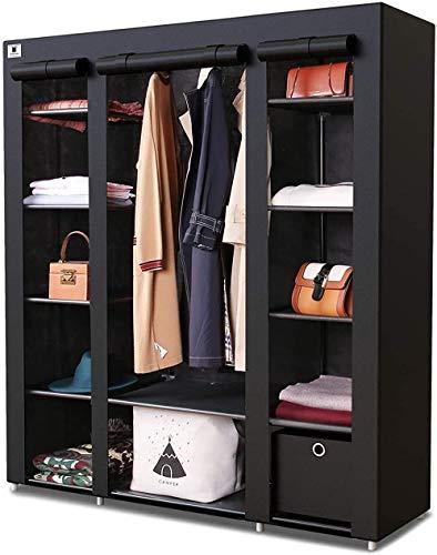Kleiderschrank, 3 Ebenen, tragbar, groß, freistehend, mit Kleiderstange und würfelförmiger Schublade – L 150 cm x B 45 cm x H 175 cm, Schwarz, Dreifach
