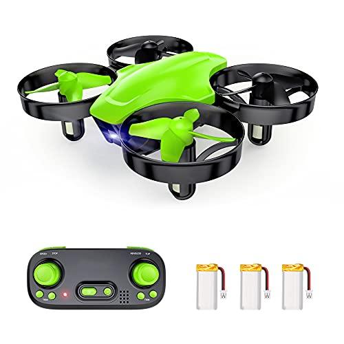 SP350 - Drone infantil con mando a distancia, 21 minutos, autonomía con 3 baterías, modo sin cabeza, mantenimiento de la altitud, fácil de usar, perfecto para niños y principiantes, color verde
