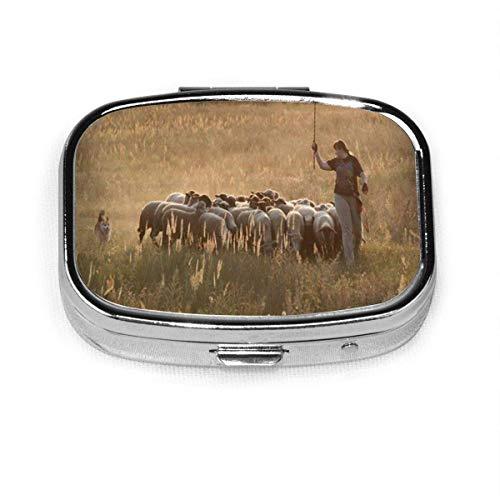 Mujer Corgi Movind ovejas puesta de sol pastoreo animales animales salvajes personalizado moda cuadrado Pastillero titular de bolsillo organizador caja de decoración