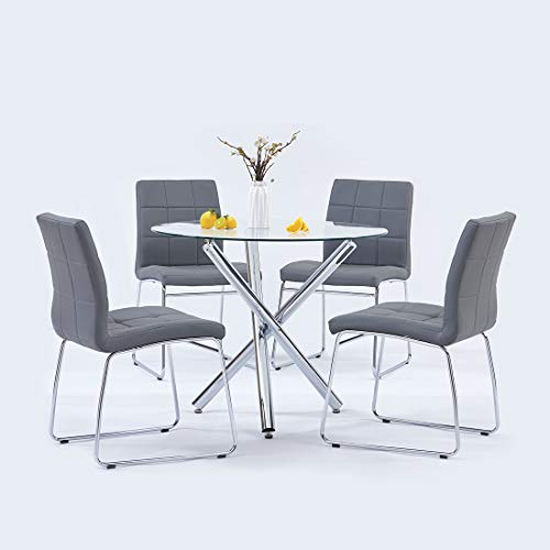 Modern Dining Table Chairs Set,Round Table with Clear Tempered Glass Top+4 Grey Faux Leather Dining Chairs Set for 4 Person,Kitchen Dining Room Table and Chairs Set for Home(1 Table + 4 Grey Chairs)