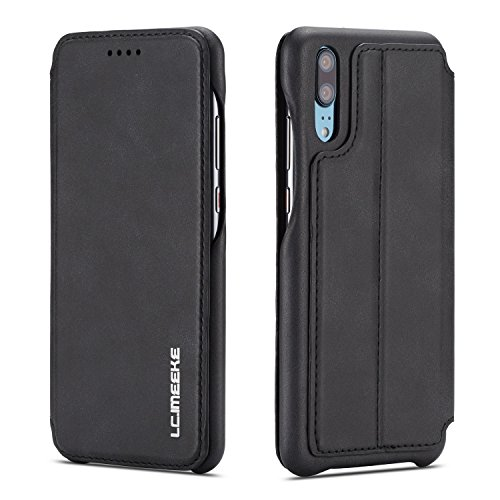 QLTYPRI Huawei P20 pro Hülle, Premium PU Leder Handyhülle Ultra Dünne Ledertasche Magnetverschluss Standfunktion und Kartenfach Wallet Hülle Flip Schutzhülle für Huawei P20 pro - Schwarz