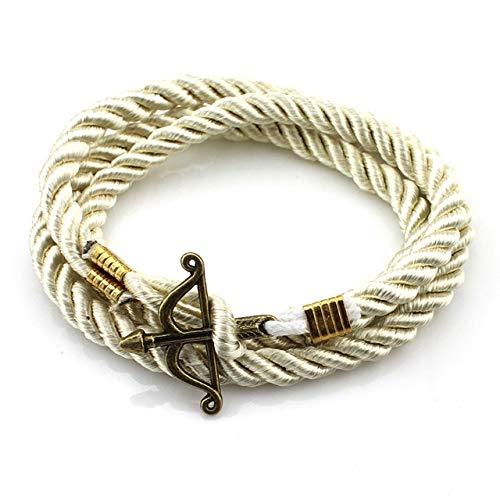 BQZB Armband Style Zimt Armbrust Hoffnung Anker Wrap Seil Armband Für Männer Männlichen Armband Pulseras Sommer Stil Milchig