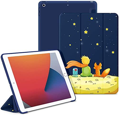 OLAIKE- Estuche Blando para el Nuevo iPad 10.2 8th Gen 2020 / iPad 7th Generation 10.2 '2019, Auto Sleep / Wake Slim Lightweight Tri Fold Stand Case, Contraportada de TPU Suave,El niño y el Zorro