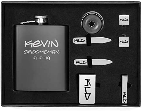 Engraved 7oz Flask, Funnel, Money Clip, Tie Bar Clip, Square Cuff Links, Collar Stays Set Gift Box Set Personalized