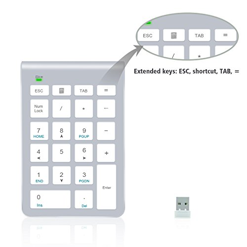 Ziffernblock, Alcey 22 Tasten Ziffernblock mit 2,4 GHz Mini USB Empfänger für iMAc, Macbooks, PC und Laptops in Silber