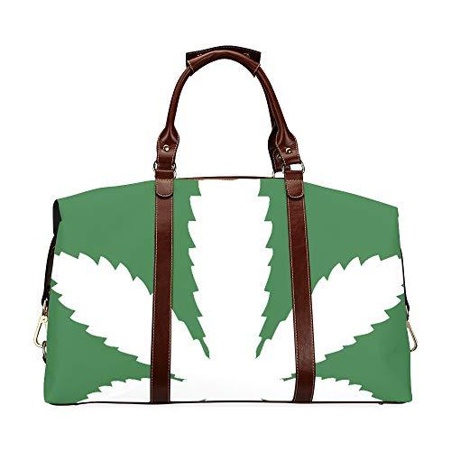Bolsos exclusivos Icono de Hoja de Marihuana Icono de Cannabis Vector Clásico de Gran tamaño Impermeable PU Cuero Bolso de Viaje múltiple Bolso de Lona de Viaje al Aire Libre