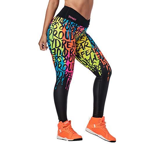 Zumba Fitness Breiter Bund Fitnesshose Workout Print Kompression Sporthose Damen, Bold Black B, S