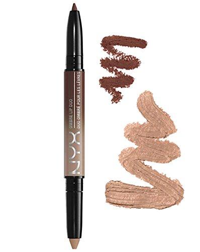 Nyx ombre lip Duo–Cookies & Cream–Toffee nude Lipstick marrone cioccolato, con bordo antiscivolo