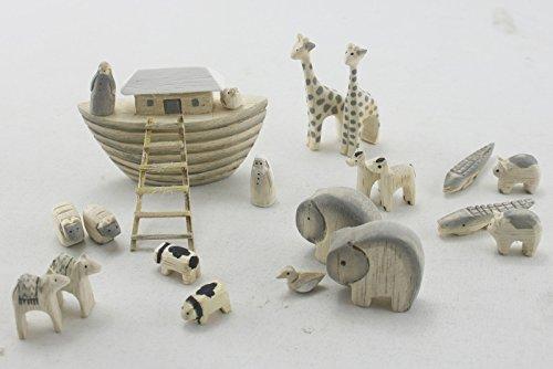 Noah & Co East of India Ark & en bois Petite boîte Ensemble de jeu sculpté à la main