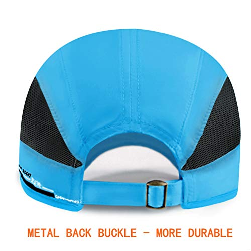 GADIEMKENSD Quick Dry Sports Hat Lightweight Breathable Soft Outdoor Running Cap Baseball Caps for Men (Sky Blue) - 4