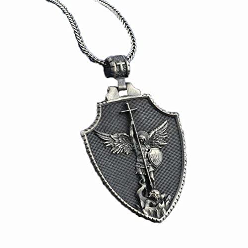 QLJYT Collar con Colgante de Cruz Ángel, Collar de Cadena Unisex Metal Accesorios de Religión Cristiana Joyería Retro
