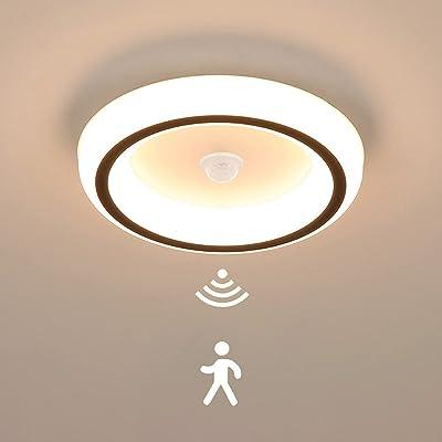 Moderne Plafonnier avec Détecteur de Mouvement LED Lampe à Détecteur Ronde Couloir 16W Lampe de Plafond Lumière blanche chaude 3000K Luminaires pour Escalier Patio Porche Interieur Chambre
