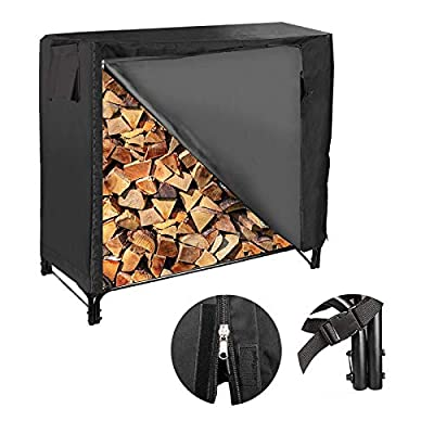 4-foot Firewood Storage Holder Set, Heavy Duty Log Rack with Cover for Outdoor and Indoor Use, Steel Tubular Logs Storage, Fireplace Tool | Black